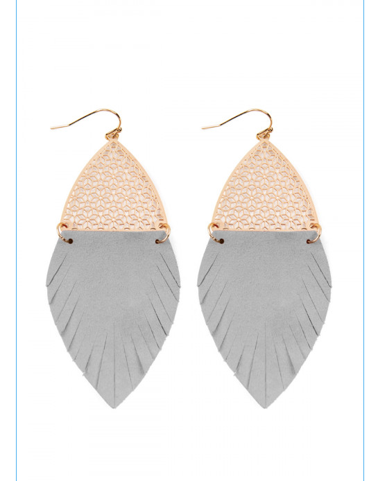 Gray Half Filigree/Half Fringe Leather Marquise Drop Earring