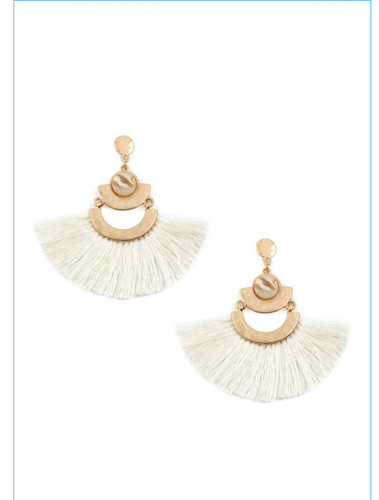 Ivory Fan Tassel Dangle Earring