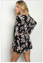 Load image into Gallery viewer, Black Floral Romper