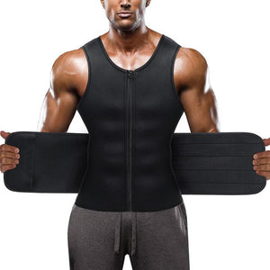 A men wear wonderience sauna zipper tank top and open the waist  trainer with two hands
