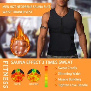Wonderience men hot neoprene sauna suit waist trainer vest effect picture, provide sauna effect 3 times sweat.