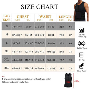 Men Sauna Zipper Tank Top with Adjustable Velcro Size Chart