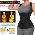 Wonderience Women Zipper Sauna Tank Top with Adjustable Velcro Belts