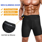 A men show that  this boxer shorts waist interior uses a anti roll up silicone