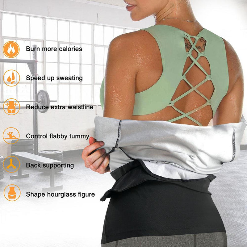 a women wear sauna jacket showing her shoulder and back sweat
