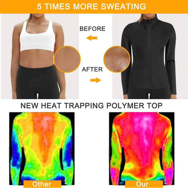 Junlan Women Sweat Heat Zipper Sauna Long Sleeve Effect Compare Picture