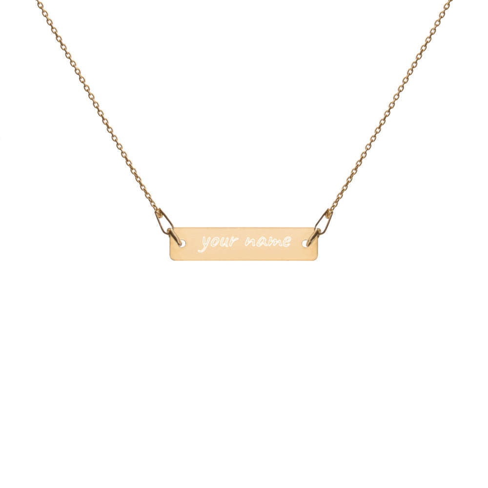 Engraved Silver Bar Chain Necklace - Fashion by Sheiryn
