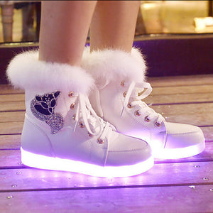 Women's Led Sneakers light Up Led Shoes USB Charging Flat Heel Round Toe PU Booties Shoes with Light Up Ankle Boots LED Casual Winter Bright Sneakers - LightUpLedShoes