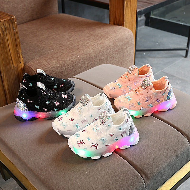 Kids Baby Girls Butterfly Crystal Led Luminous Bright Sneakers New LED Shoes Flashing Light Up Sneaker Infantil Luminous Trainers Children Baby Shoes