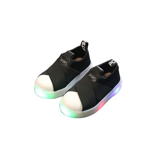 Light Kids Shoes LED Light Sports Shoes Luminous Sneakers Boys Shell Head Children Shoes Girls Cloth Flash Shoes Baby Light Up Shoes Led Sneakers