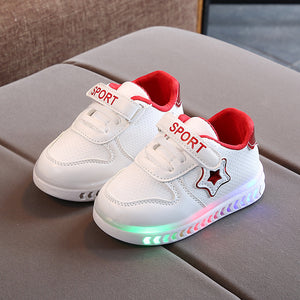 Kids Lights Shoes Children's Board Shoes LED Luminous Light Baby Toddler Shoes Velcro Casual Shoes for Boys Girls Baby Luminous Shoes