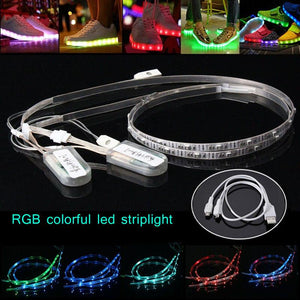 Newest 2 Packs 60cm Flexible Neon USB Rechargeable Battery Powered RGB 24 LED SMD 3528 Light Strip Waterproof Shoes Clothing Clothes Party - LightUpLedShoes