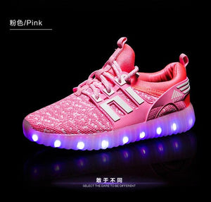 New Kids USB Luminous Led Sneakers Kids Glowing Children Lights Up Shoes With Led Slippers Girls Illuminated Krasovki Footwear Boys Bright Sneakers - LightUpLedShoes