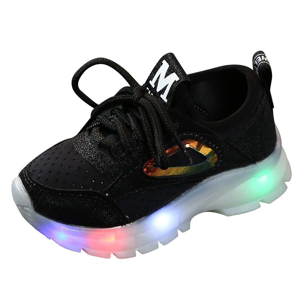 Autumn New Anti-slip Children Baby Girls Boys Led Shoes Breathable Mesh Led Luminous Sport Run Light Up Sneakers Running Bright Led Shoe for Kids - LightUpLedShoes
