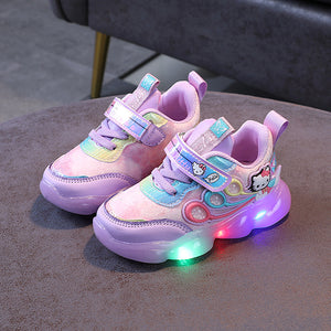Girl Led Shoes Children Princess Shoes 3 Female 2020 New LED Lights 4 Mesh Sneakers Breathable 2-7 Years Old Baby Toddler Light Up Shoes