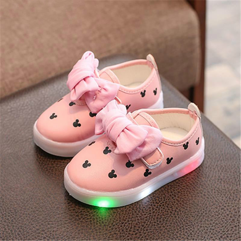 Fashion Kids Girls Led Shoes With Light luminate Sneakers Dot Cute Baby Children Light Up Shoes With Light Up Sneakers  Size 21-30 - LightUpLedShoes
