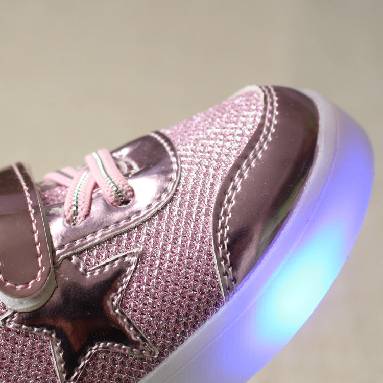 New Children LED Light Shoes Star Bright Leather Boys Girls Luminous Shoes Magic Fastener Antiskid 1-7 Year Baby Shoes Kids Sneaker Infantil Trainers