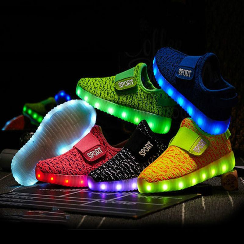 Size 25-37 Kids Led Shoes USB Recharge Glowing Bright Shoes Children's Hook Loop Light Up Shoes Children's Glowing Sneakers Kids Led Luminous Shoes - LightUpLedShoes