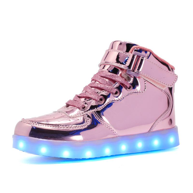 Children Led Light Up Shoes USB Charging Basket Toddler&Little&Big Kids Shoes With Light Up Kids Casual Boys&Girls Luminous Led Bright Sneakers Gold - LightUpLedShoes