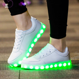 USB Charger Glowing Women's  Light Up Led Sneakers Lighted Shoes for Casual Led Shoes for Party Evening Led Slippers Luminous Female Bright Sneakers - LightUpLedShoes