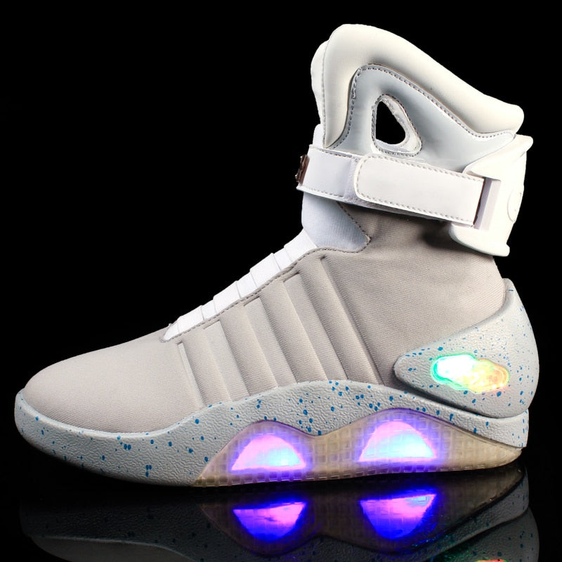 New Men Boots USB Rechargeable Glowing LED Light Sneaker Air Mag Boots Man Party Top LED Shoes Back To Future Boots Glowing Luminous Sneakers
