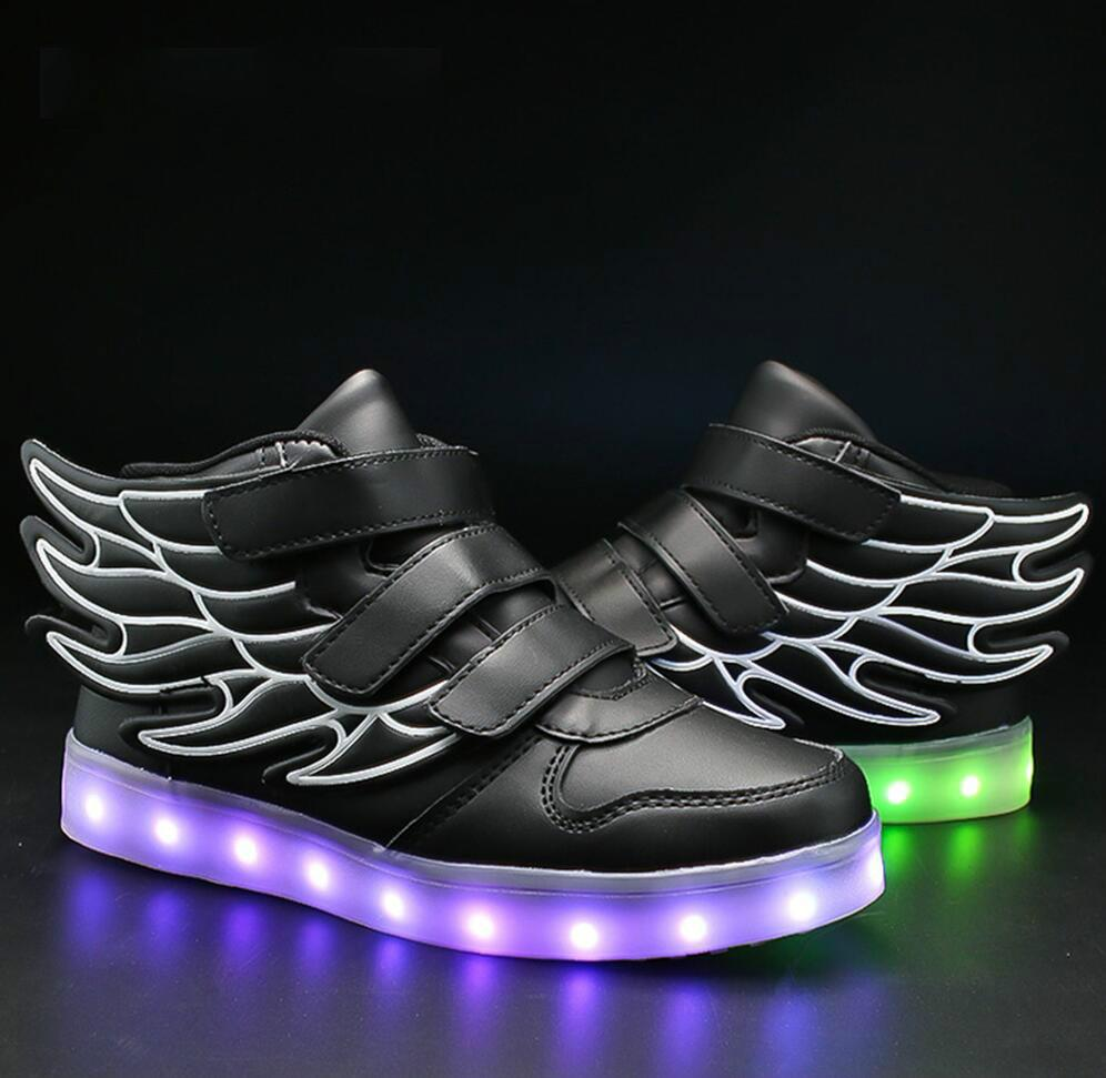 Kids Light Up Shoes with Wing Children Led Shoes Boys Girls Glowing Luminous Bright Sneakers USB Charging Boy Fashion Light Up Shoes - LightUpLedShoes