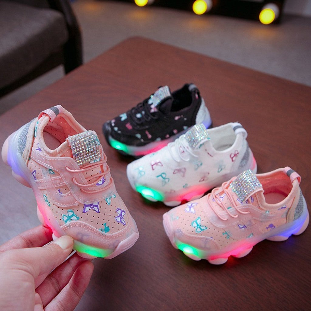 Kids Baby Girls Boys Butterfly Crystal Led Luminous Sport Run Sneakers Children Bright Shoes Lighted Led Trainer Flashing Lights Baby Light Up Shoes