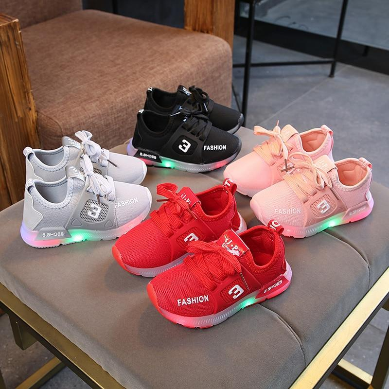 Children Luminous Led Shoes Boys Girls Sport Running Bright Shoes Baby Flashing Lights Fashion Light Up Led Sneakers Toddler Little Kids LED Sneakers - LightUpLedShoes