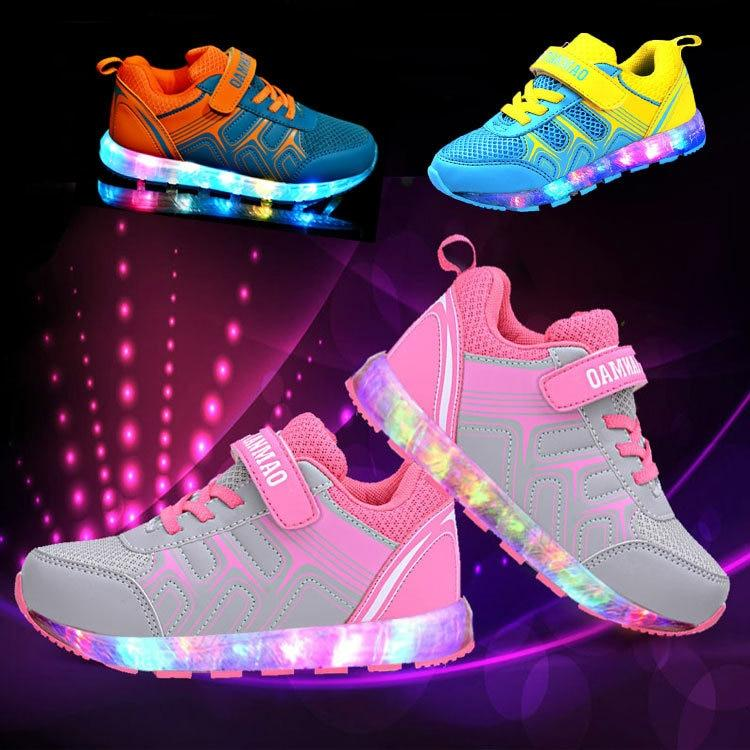 Fashion Kids Shoes Led Lights Girls Led USB Recharge Glowing Shoes Children's Boys Hook Loop Light Up Shoes Led Luminous Bright Sneakes Size 25-37 - LightUpLedShoes