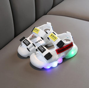 Kids Sandals Summer LED WIth Light Flash Sandals Beach Leather Sandals Children Water Shoes Anti-skid New Children Sandals Luminous Glowing Shoes