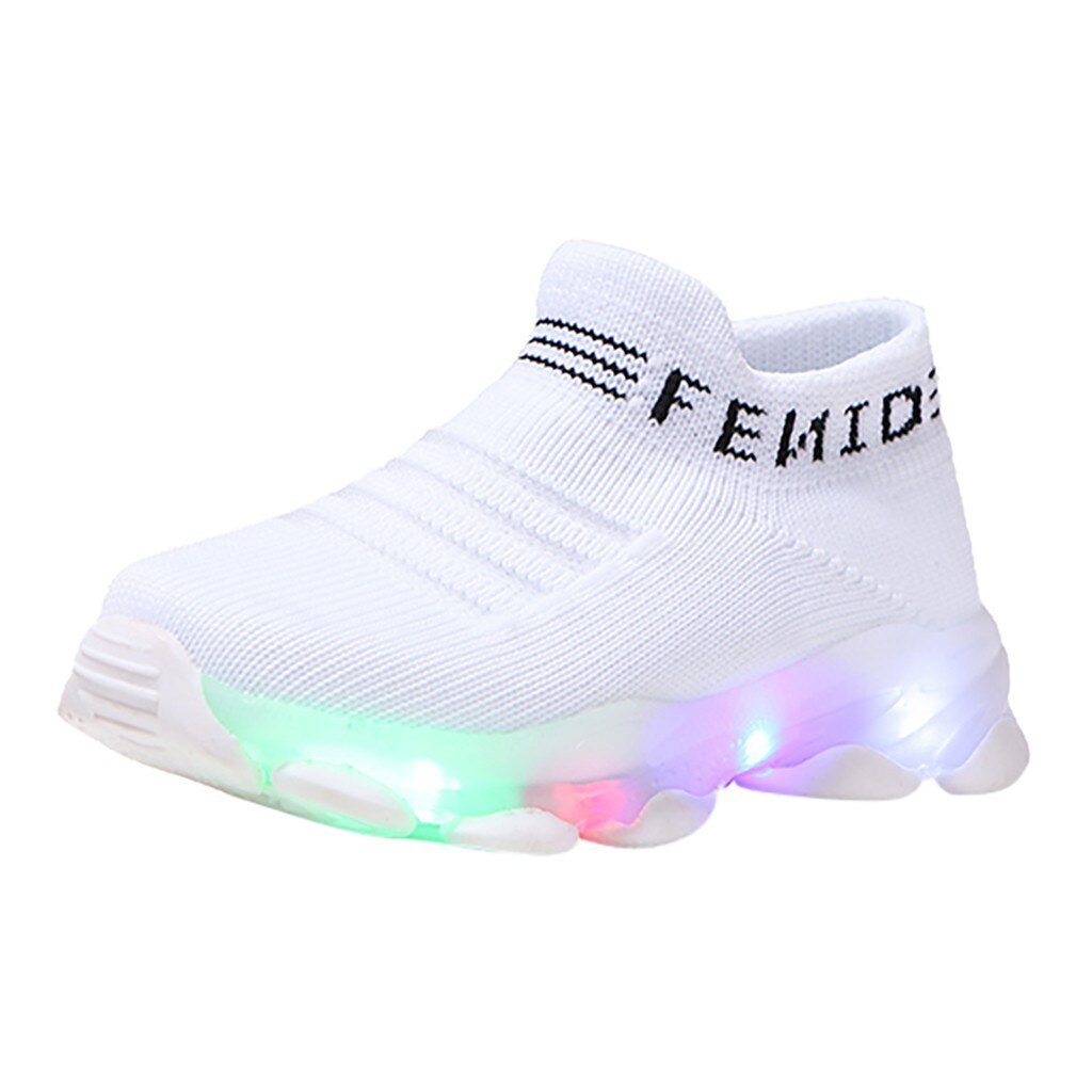 Kids Sneakers ChildrenLed Shoes Baby Girls Boys Letter Mesh Led Luminous Socks Sport Run Bright Sneakers Shoes Sapato Infantil Light Up Shoes - LightUpLedShoes