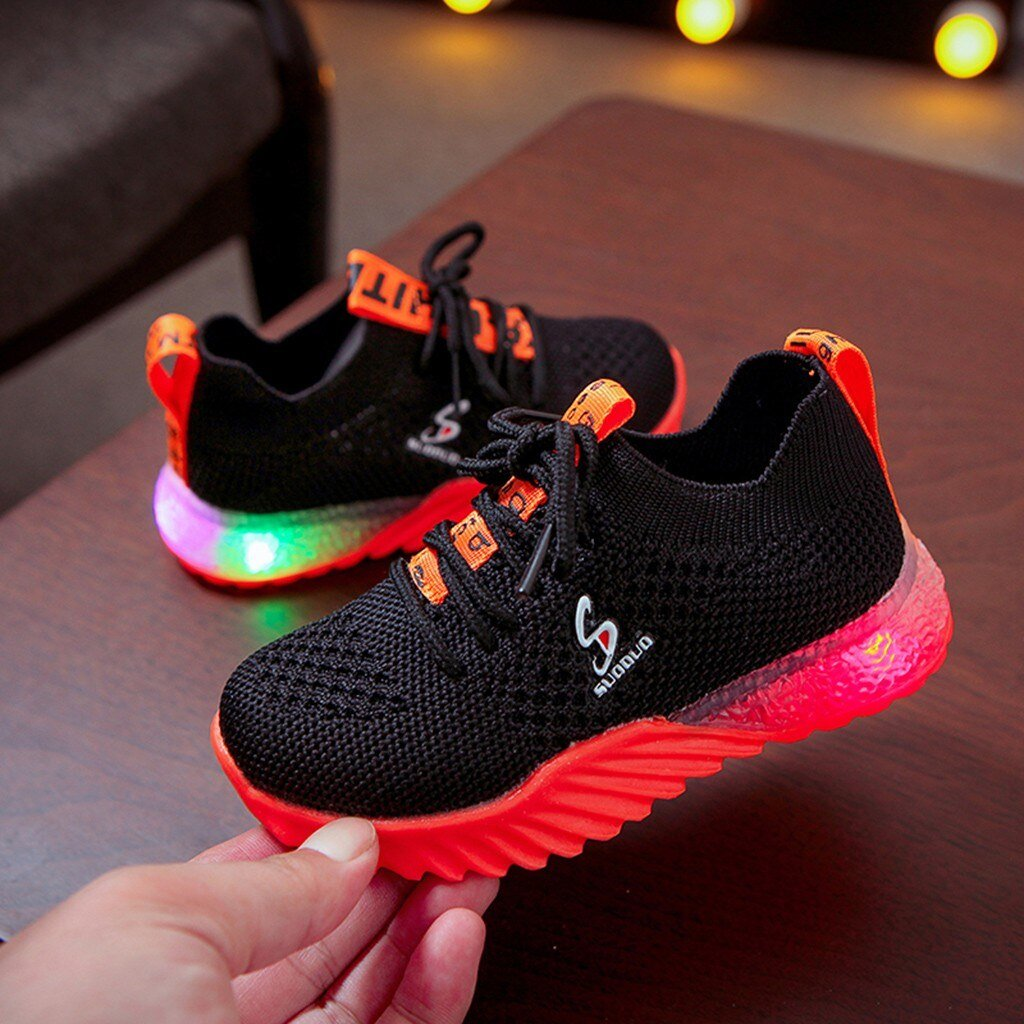 New Children Luminous Led Shoes Boys Girls Letter Sport Run Bright Sneakers Casual Shoes Fashion Kids Mesh Sport Girl Light Up Led Shoes - LightUpLedShoes