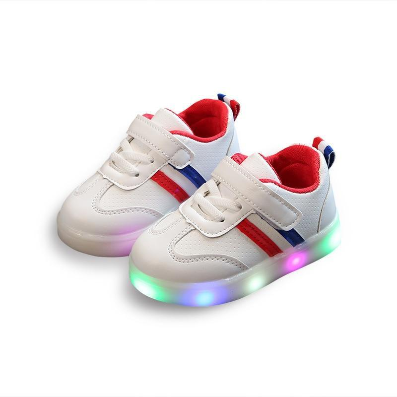 New Children Luminous Shoes Boys Girls Stripe Sport Running Led Light Up Shoes Baby Lights Fashion Bright Sneakers Toddler Kids LED Sneakers - LightUpLedShoes