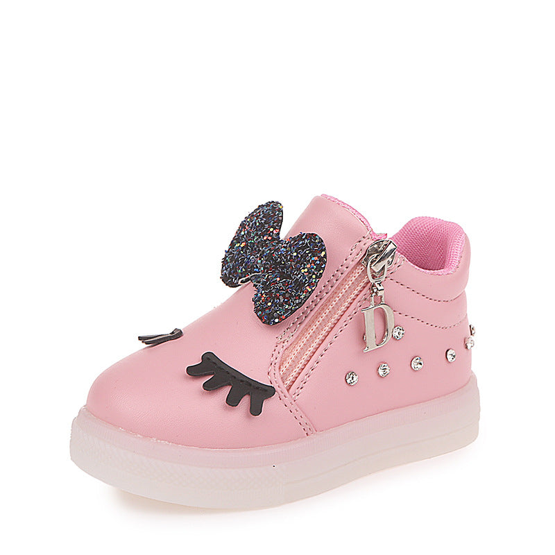 New Fashion Children Glowing Shoes Princess Bow Girls Light Up Led Shoes Spring Autumn Cute Baby Bright Sneakers Shoes HE-21 Rhinestone Shoes - LightUpLedShoes