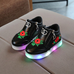Fashion Rose Children's Luminous Shoes for Girls Glowing Sneakers Girls Lighted Sneakers Shoes Kids Led Sneakers with Luminous Sole Luxury Light Shoes