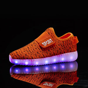 Led Shoes Size 25-37 Kids USB Recharge Glowing Light Up Shoes Children's Hook Loop Bright Shoes Children's Glowing Sneakers Kids Led Luminous Shoes - LightUpLedShoes