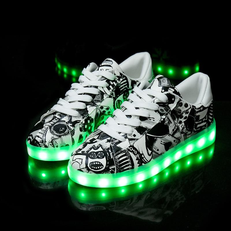 Little/Big Kids Boys Girls Glowing Sneakers with Light Up Shoes Luminous Led Sneakers for Children Krasovki with Backlight Kid Light Sole Led Shoes - LightUpLedShoes