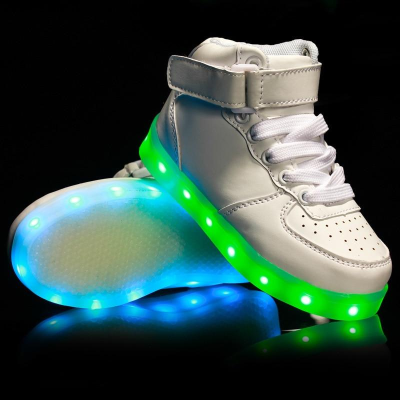 Led Shoes Boys Girls Charge USB Luminous Sneakers Baskets Light Up Led Shoes with Light Up Sole Glowing Kids Enfant LED Bright Slippers - LightUpLedShoes