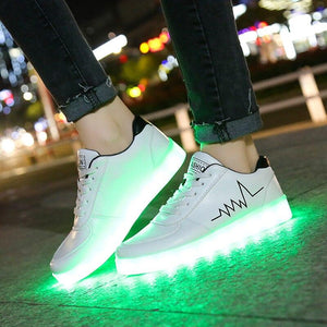 Men's Led Light Up Shoes USB Charge Luminous Male Light Sneakers Led Lighted Up Shoes Men's Glowing Bright Shoes With Lights Casual Shoes - LightUpLedShoes