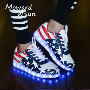 Weman's Led Light Up Shoes USB Charge Luminous Female Male Sneakers Led Lighted Up Shoes Weman's Glowing Bright Shoes With Lights Casual Shoes - LightUpLedShoes