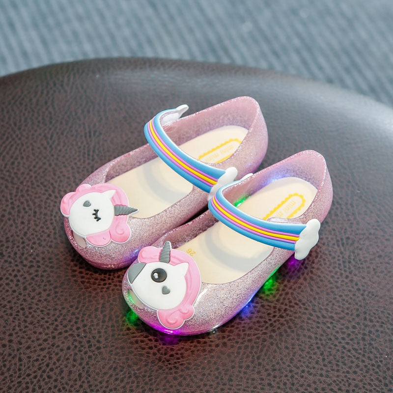 Toddler Baby Unicorn Shoes Slippers Kids LED Flashing Light Powder Shoes Children Shoes Fish Head Girls Sandals Jelly LED Flash Glitter Incense Shoes