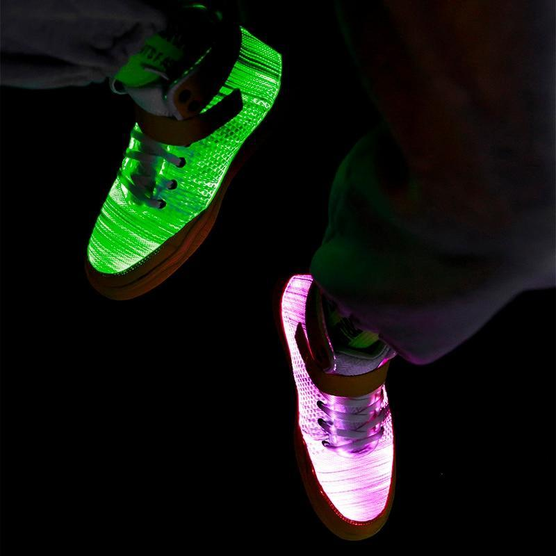 2020 New Fiber Optic Men's LED Shoes Adult Male USB Rechargeable Glowing Bright Sneakers Party Men's Light Up Shoes Cool Street Shoes - LightUpLedShoes