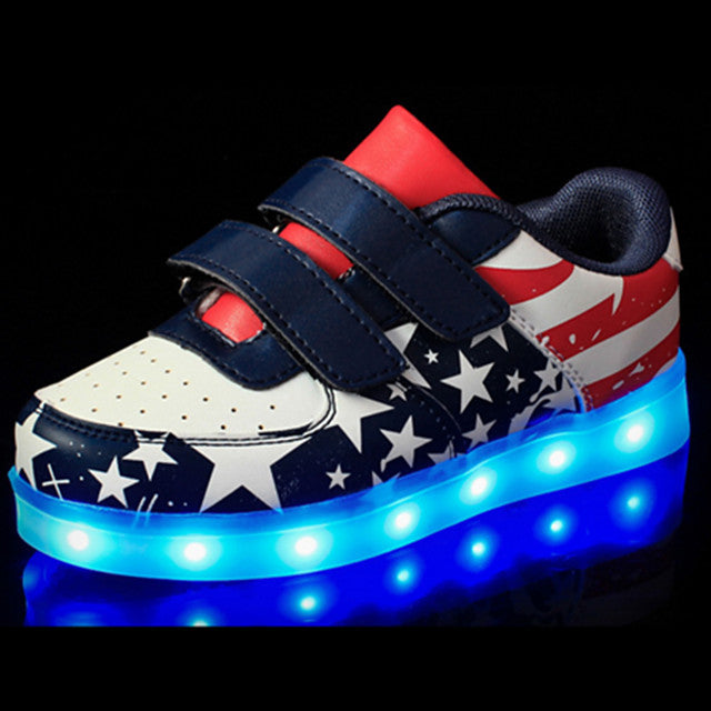 Boys Girls USB Charging LED Comfort Novelty Leather Sneakers Children Light Up Shoes Luminous Littler/Big Kids Magic Glowing Light LED Blue LED Shoes - LightUpLedShoes