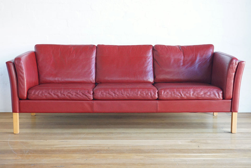 sold / Ox-Blood Leather Sofa