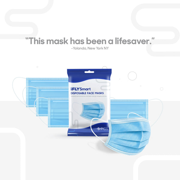 Disposable Face Masks - 5 pack