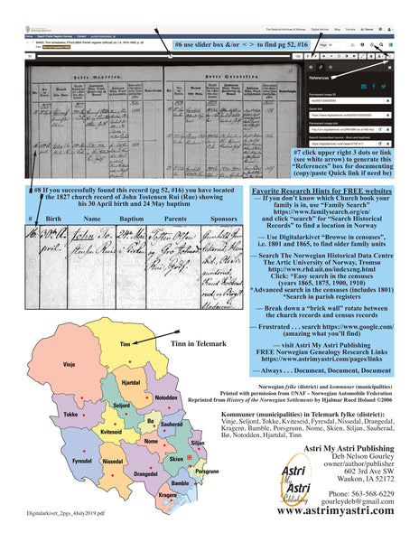 Norwegian Genealogy Kit — (supplies for 3 people) map posters genealogy research in all of Norway