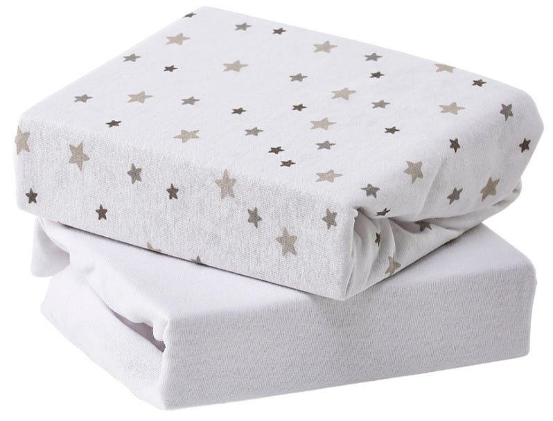 Babyelegance- 2pk Jersey Moses Fitted Sheet Grey Star