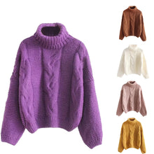 Load image into Gallery viewer, Autumn Winter Women Fashion Sweater Basic Female Pullover Batwing Sleeve Solid Color Femme Casual Knitted Streetwear