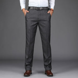 ICPANS Plaid Dress Pants Men Stretch Grey Classic Loose Straight Formal Office Trousers Man Business Big Size 38 40 Suit Pant