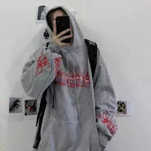 Load image into Gallery viewer, Cool Black Autumn Fire Print Hoodies Men Women Loose Hip Hop Sweatshirts Japan High Street Harajuku Hoodie Fashion Winter Tops
